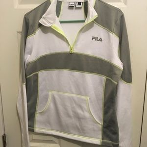 Fila white gray and yellow work out top.